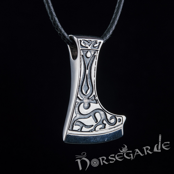 Handcrafted Deer Ornament Perun's Axe Pendant - Sterling Silver