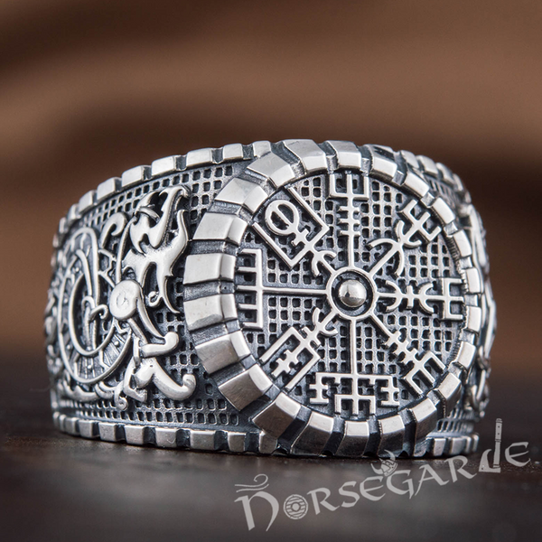 Handcrafted Vegvisir Viking Ornament Signet Ring - Sterling Silver