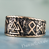 Handcrafted Valknut Runic Band - Bronze