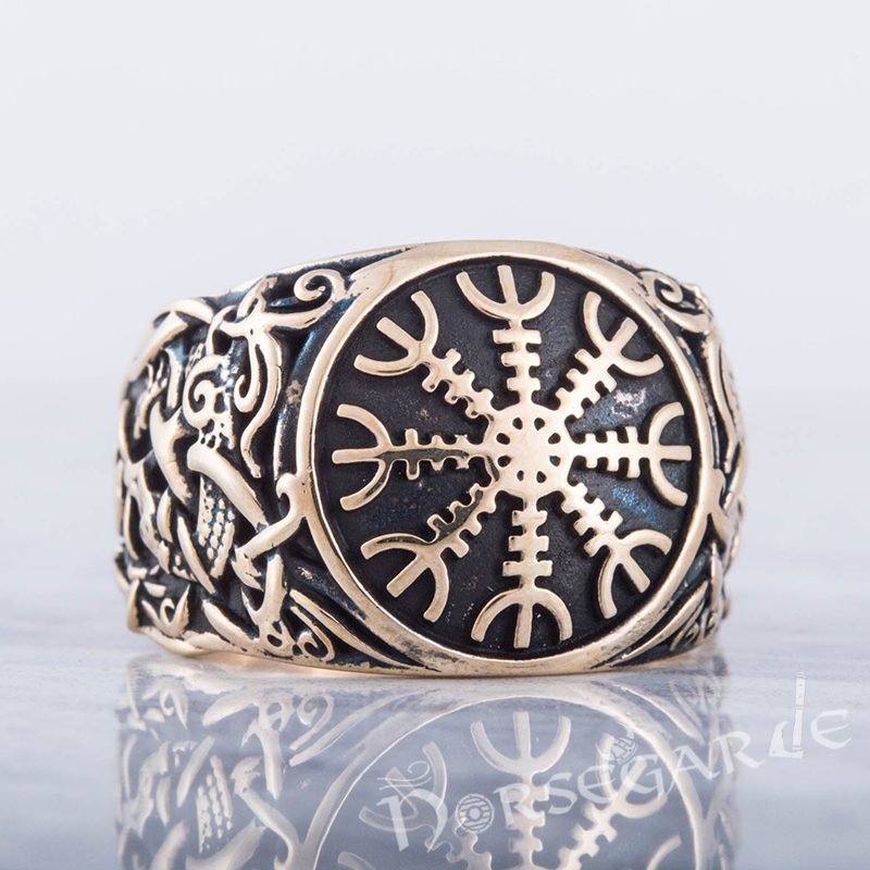 Handcrafted Helm of Awe Mammen Style Ring - Bronze
