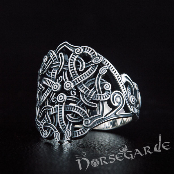 Handcrafted Urnes Art Ring - Sterling Silver