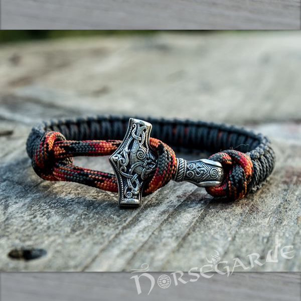 Handcrafted Gray Paracord Bracelet with Mjölnir - Sterling Silver