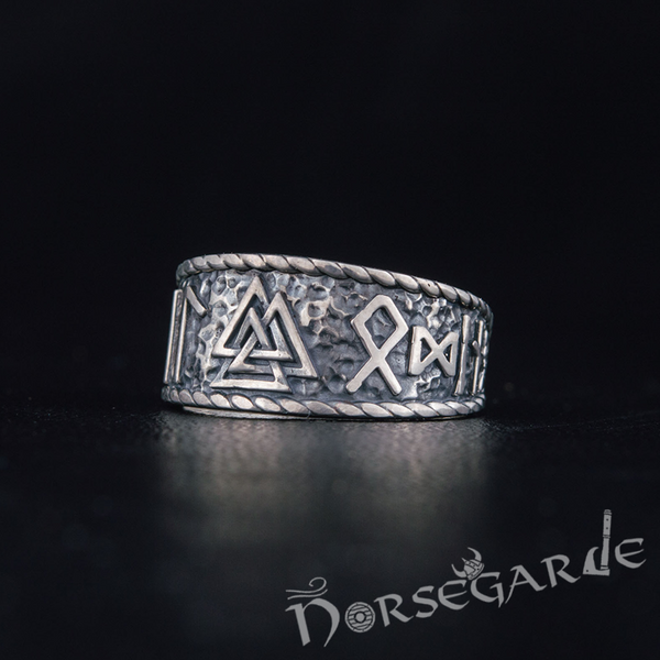 Handcrafted Valknut Runic Band - Sterling Silver