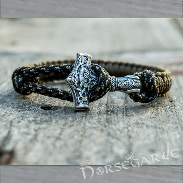 Handcrafted Bark Paracord Bracelet with Mjölnir - Sterling Silver