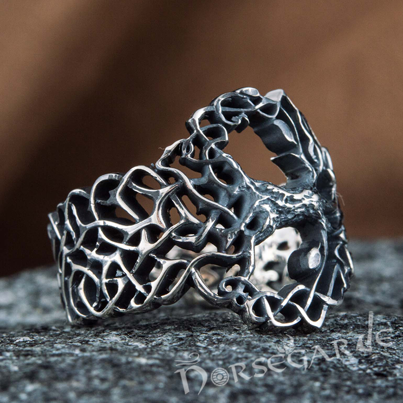 Handcrafted Intertwined Yggdrasil Ring - Sterling Silver