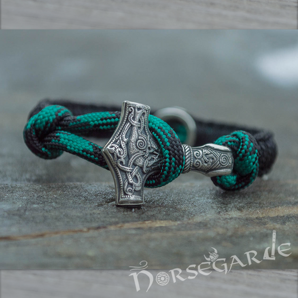 Handcrafted Shaded Paracord Bracelet with Mjölnir and Rune - Sterling Silver