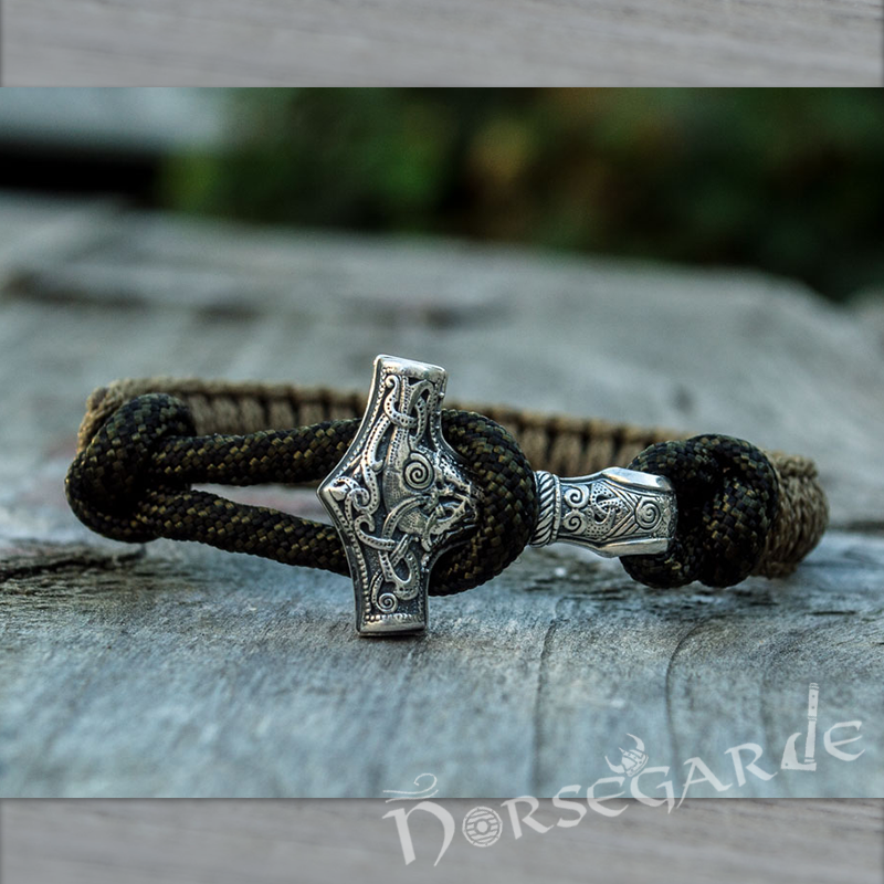 Handcrafted Coffee Paracord Bracelet with Mjölnir - Sterling Silver