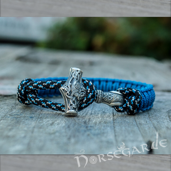 Handcrafted Ocean Paracord Bracelet with Mjölnir - Sterling Silver