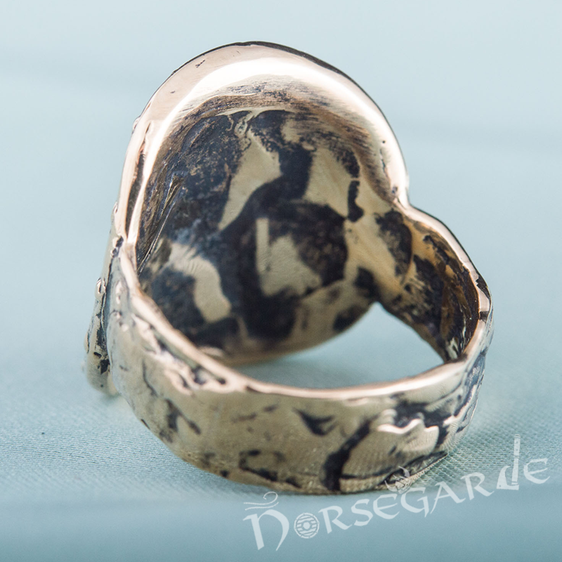 Handcrafted Shield Signet Ring - Bronze