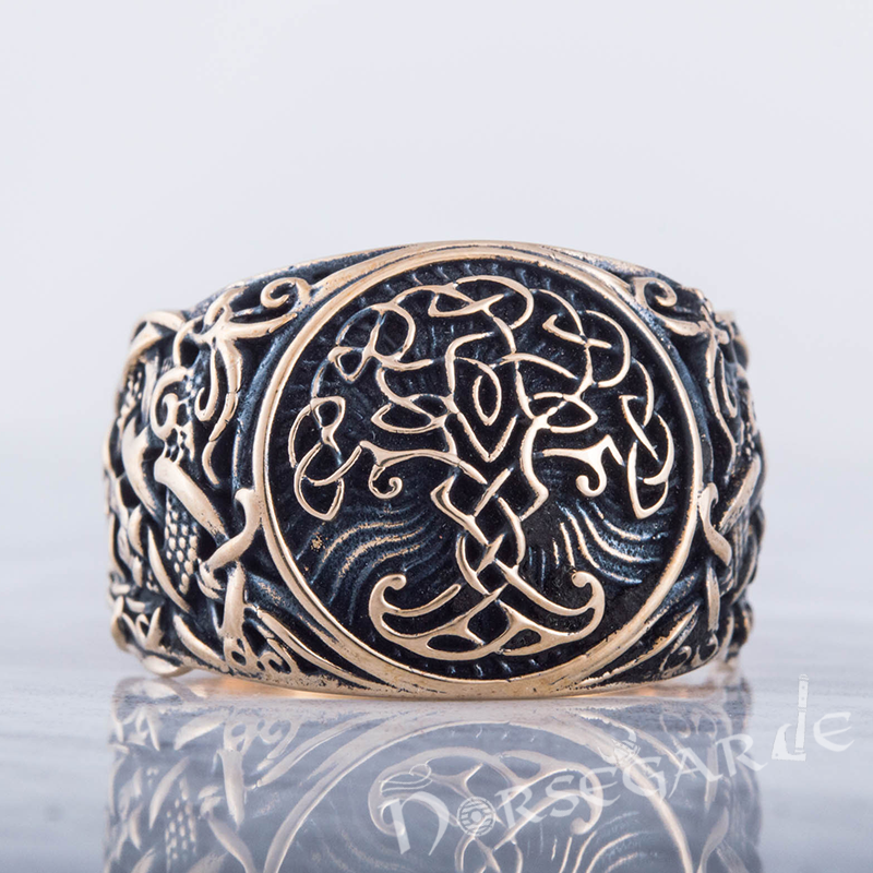 Handcrafted Yggdrasil Mammen Style Ring - Bronze