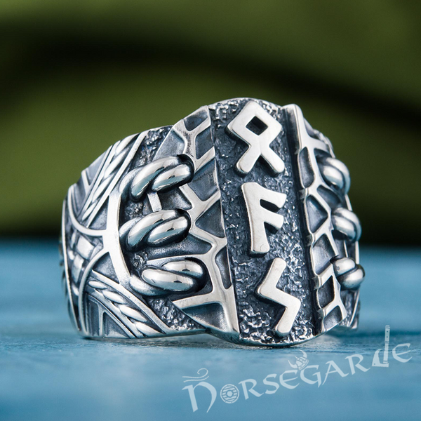 Handcrafted Stoic Runes Ring - Sterling Silver
