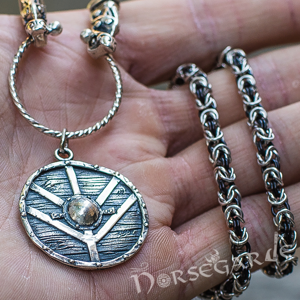Handcrafted King's Chain with Shield Pendant - Sterling Silver