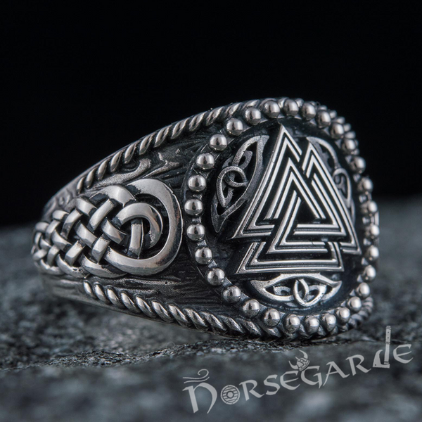Handcrafted Valknut Braid Ornament Signet Ring - Sterling Silver