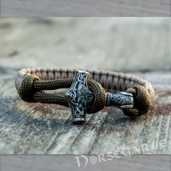 Handcrafted Coyote Paracord Bracelet with Mjölnir - Sterling Silver