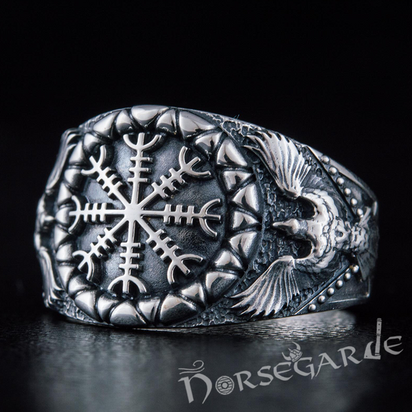 Handcrafted Ravens and Helm of Awe Ring - Sterling Silver