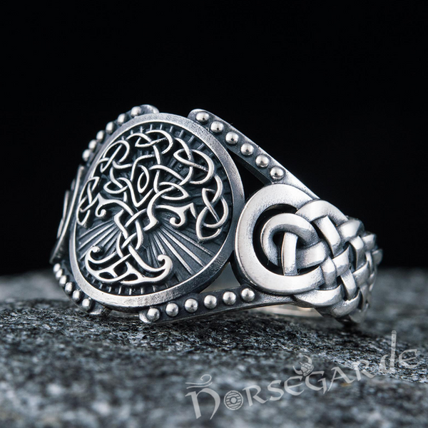 Handcrafted Yggdrasil Braid Ornament Ring - Sterling Silver