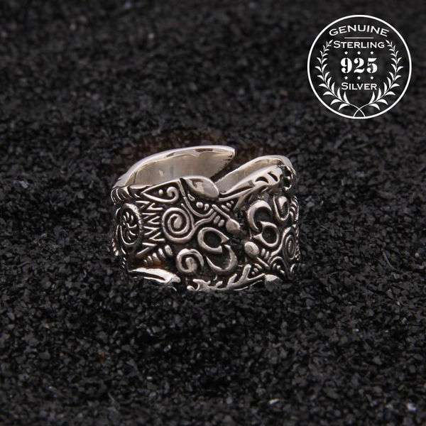 Geri and Freki Wolf Ring - Sterling Silver