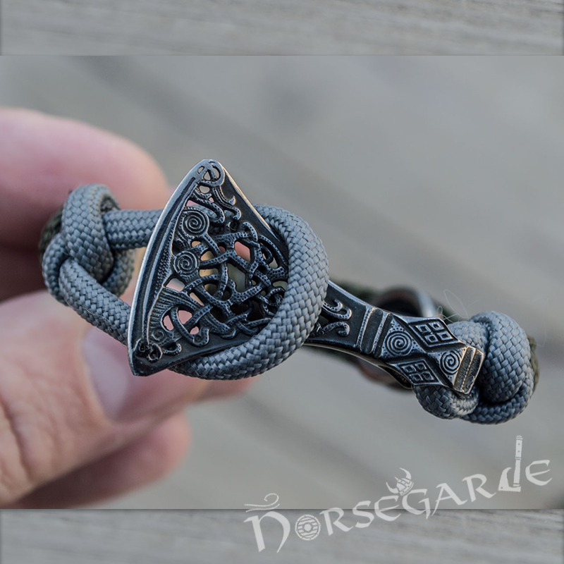 Handcrafted Olive Paracord Bracelet with Axe Head and Rune - Ruthenium Plated Sterling Silver