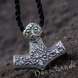 Handcrafted Viking Art Ornamental Mjölnir - Sterling Silver