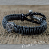 Handcrafted Dusky Paracord Bracelet with Mjölnir and Rune - Sterling Silver