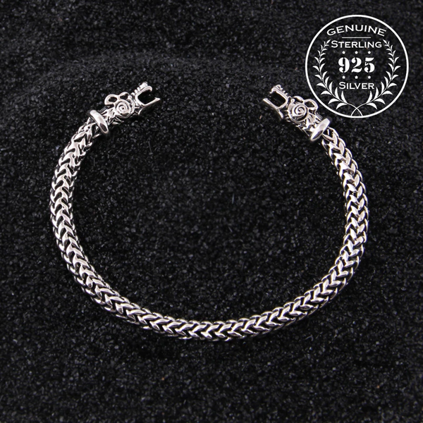 Wolf Head Meshed Torc Bracelet - Sterling Silver