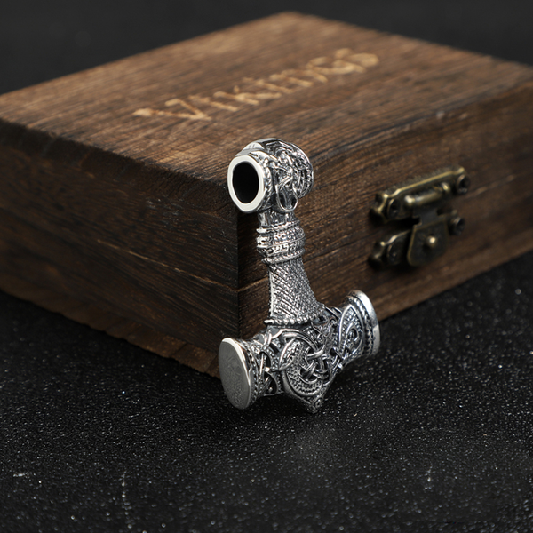 Ornamental Large Mjölnir Amulet - Sterling Silver