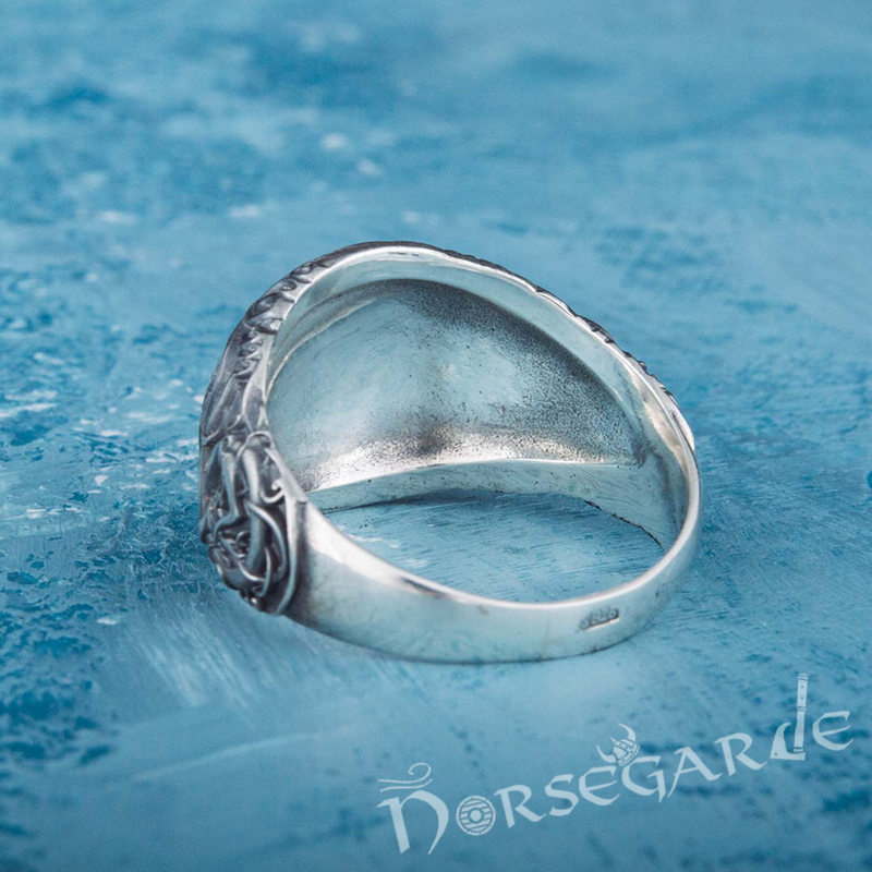 Handcrafted Urnes Style Vegvisir Ring - Sterling Silver