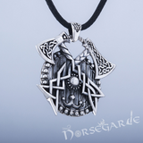 Handcrafted Celtic Axes and Shield Pendant - Sterling Silver
