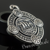 Handcrafted Rune Circle with Viking Drakkar - Sterling Silver