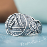 Handcrafted Valknut Druid Signet Ring - Sterling Silver
