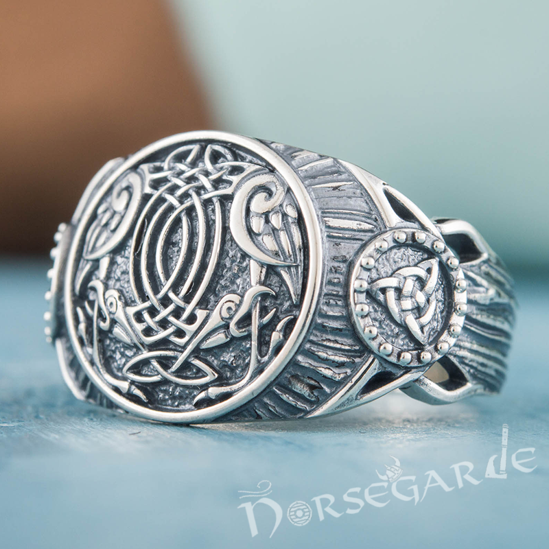 Handcrafted Ravens Druid Signet Ring - Sterling Silver