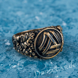 Handcrafted Valknut Oak Leaves Ring - Bronze