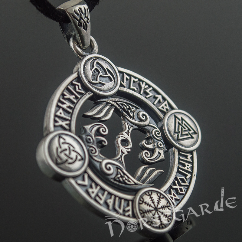 Handcrafted Rune Circle with Ravens - Sterling Silver