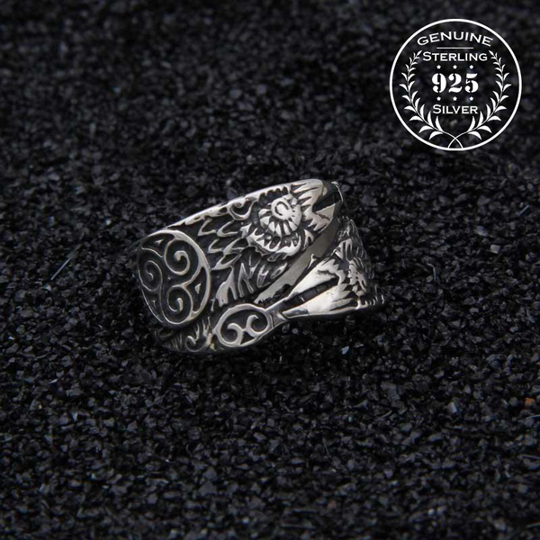Hugin and Munin Raven Ring - Sterling Silver