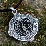 Handcrafted Rune Circle with Entwined Yggdrasil - Sterling Silver