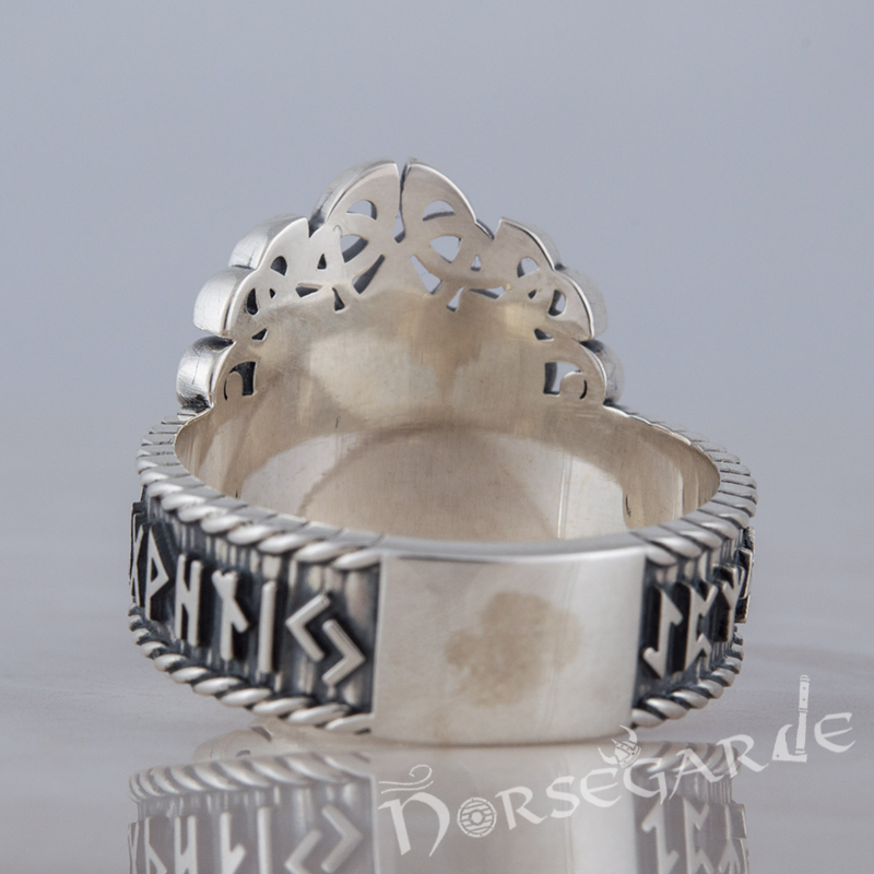 Handcrafted Yggdrasil and Runic Circle Ring - Sterling Silver
