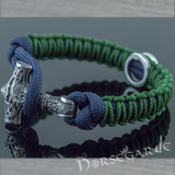 Handcrafted Lilypad Paracord Bracelet with Mjölnir and Rune - Sterling Silver