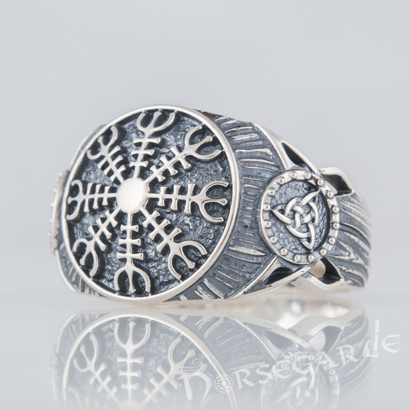 Handcrafted Helm of Awe Druid Signet Ring - Sterling Silver
