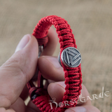 Handcrafted Red Paracord Bracelet with Mjölnir and Rune - Sterling Silver