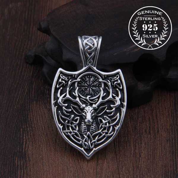 Cernunnos Celtic Shield Pendant - Sterling Silver