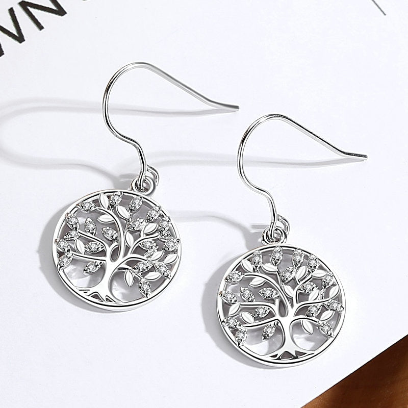 Gemmed Yggdrasil Tree Drop Earrings - Sterling Silver