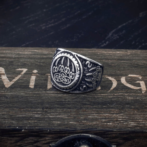 Sign of Veles Signet Ring - Stainless Steel