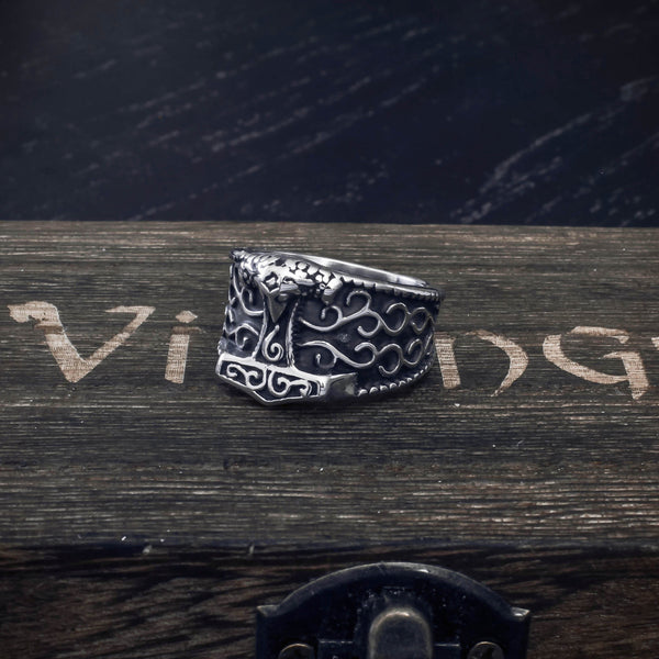 Celtic Thor's Hammer Ring - Stainless Steel