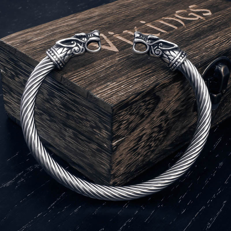 Geki and Freki Wolf Head Torc Bracelet - Stainless Steel