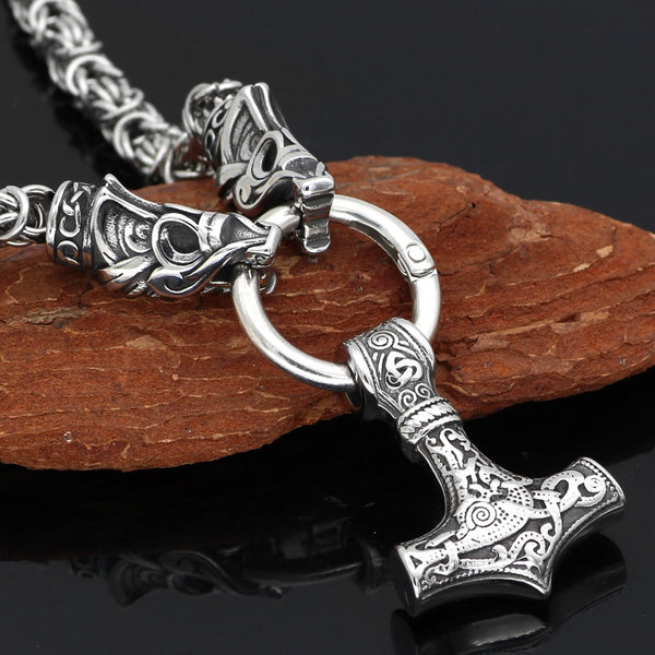 Fafnir's Bite Ring King's Chain with Mjölnir - Stainless Steel