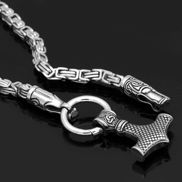 Runic Wolf's Bite Ring Heavy Chain - Stainless Steel