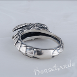 Handcrafted Green Eyed Jormungandr Ring - Sterling Silver