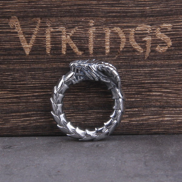 Jormungandr Ouroboros Ring and Pendant - Stainless Steel