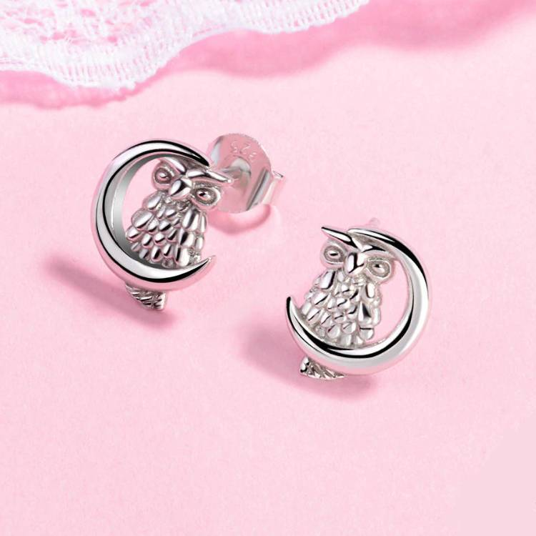 Celtic Moon and Owl Stud Earrings - Sterling Silver