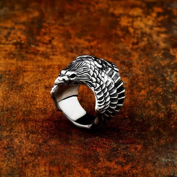 Winged Raven Ring - Stainless Steel